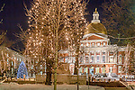 Christmas lights at the Massachusetts State House, Freedom Trail, Boston National Historical Park, Boston, MA