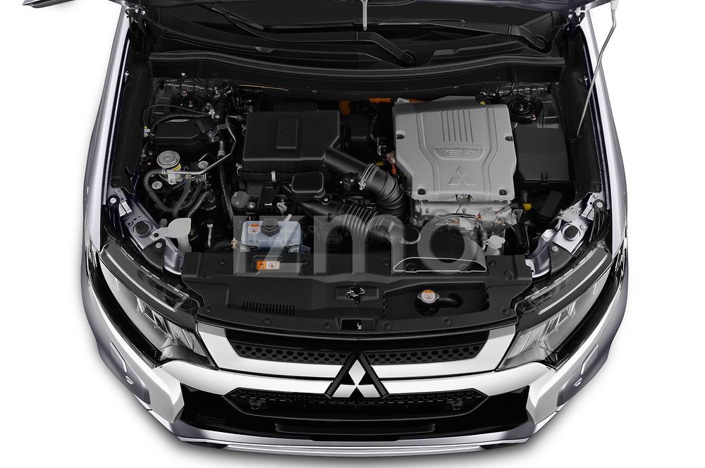 Car stock 2019 Mitsubishi Outlander PHEV Instyle 5 Door SUV engine high angle detail view