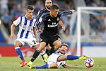Real Sociedad's David Concha (l) and Asier Illarramendi (r) and Real Madrid's Mateo Kovacic during La Liga match. August 21,2016. (ALTERPHOTOS/Acero)