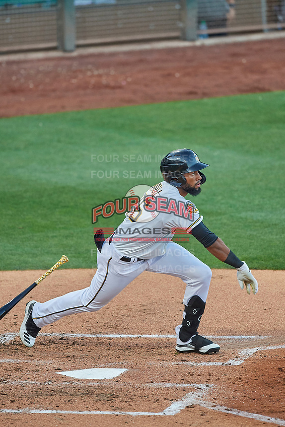 Jo Adell (26) of the Salt Lake Bees at bat against the El Paso Chihuahuas at Smith's Ballpark on August 17, 2019 in Salt Lake City, Utah. The Bees defeated the Chihuahuas 5-4. (Stephen Smith/Four Seam Images)
