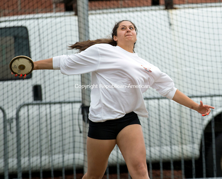 Middletown, CT- 02 June 2015-060215CM08- Watertown's Paula Atallah launches the disc during the Class MM Track and Field Championships at Middletown High School on Tuesday.    Christopher Massa Republican-American