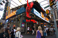 A Times Square branch of the Red Lobster restaurant chain on August 20, 2008. Casual dining chains have been hard hit by the high price of gasoline which has prompted people to dine out less. (© Richard B. Levine)
