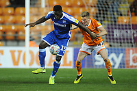 Gillingham's John Akinde under pressure from Blackpool's Taylor Moore<br /> <br /> Photographer Kevin Barnes/CameraSport<br /> <br /> The EFL Sky Bet League One - Blackpool v Gillingham - Tuesday 11th February 2020 - Bloomfield Road - Blackpool<br /> <br /> World Copyright © 2020 CameraSport. All rights reserved. 43 Linden Ave. Countesthorpe. Leicester. England. LE8 5PG - Tel: +44 (0) 116 277 4147 - admin@camerasport.com - www.camerasport.com