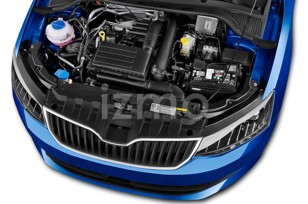 Car Stock 2015 Skoda Fabia Ambition 5 Door Hatchback Engine high angle detail view