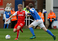 Fleetwood Town's Kyle Dempsey is pressured by Peterborough United's Chris Forrester<br /> <br /> Photographer David Shipman/CameraSport<br /> <br /> The EFL Sky Bet League One - Peterborough United v Fleetwood Town - Friday 14th April 2016 - ABAX Stadium  - Peterborough<br /> <br /> World Copyright &copy; 2017 CameraSport. All rights reserved. 43 Linden Ave. Countesthorpe. Leicester. England. LE8 5PG - Tel: +44 (0) 116 277 4147 - admin@camerasport.com - www.camerasport.com