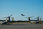 United States President Barack Obama, with his daughter Malia Obama  landing in Marine  One at Martha's Vineyard Airport between two Marine Ospreys in West Tisbury, Martha's Vineyard, Massachusetts on August 19,  2014 after returning to the island from Washington.<br /> Credit: Rick Friedman / Pool via CNP