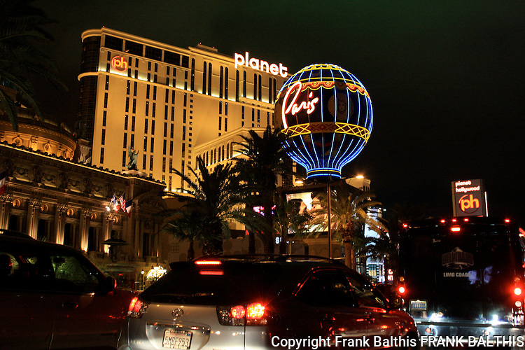Traffic on strip near Planet Hollywood in Las Vegas