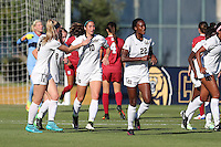 BERKELEY, CA - October 4, 2016: Cal Bears Women's Soccer team vs. Stanford Cardinal at Goldman Field. Final score, Cal Bears 1, Stanford Cardinal 4.