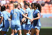 Houston, TX - Saturday May 13, 2017: Sky Blue FC midfielder Sarah Killion (16) celebrates with teammates after scoring a goal on a penalty kick during a regular season National Women's Soccer League (NWSL) match between the Houston Dash and Sky Blue FC at BBVA Compass Stadium. Sky Blue won the game 3-1.