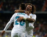 Real Madrid's Marco Asensio and Marcelo (r) celebrates goal   and UD Las Palmas'  during La Liga match. November 5,2017. (ALTERPHOTOS/Inma Garcia)