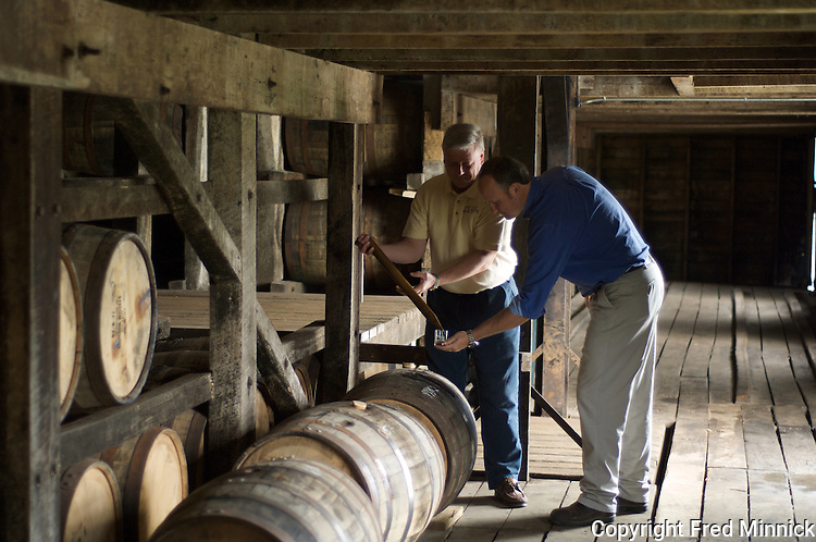 Chief Chemist Ken Pierce (left) and Master Distiller Greg Davis of 1792 Ridgemont Reserve Bourbon at the Tom Moore Distillery in Bardstown, Ky.