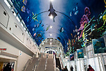 Skywalk with Aquarium artwork on ceiling, near Union Station - Toronto, Canada