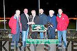 TOP DOG: No. 5 Strawberry Leaf, winner of the Nolan's V.T.N. Test Centre A7 Sweepstake Final with his owner Bill Keane being presented with the Sweepstake Final Trophy by Tom Nolan at the Kingdom Greyhound Stadium, Tralee on Saturday night. L-r: John Ward, Stadium Manager, Tom Nolan, Nolan's V.T.N. Test Centre, Bill Keane, Owner, Batty O'Connor, Dennis Keane, Trainer, and Kieran Casey.   Copyright Kerry's Eye 2008