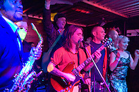 Mr Shankly's Peter Lewis Benjy Walsh amongst the stage invasion .Barnboppers and Shuddervision, Ska-lloween Gig 29 October 2011 The Wagon and Horses, Digbeth,