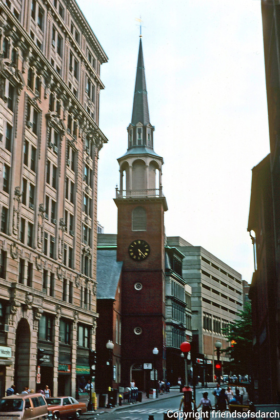 Boston:  Old South Meeting House in Downtown Crossing, 1729. Robert Twelves, Architect.   183 ft. steeple.  Now a museum.  NHRP 1966.  Photo '88.