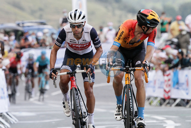 Richie Porte (AUS) Trek-Segafredo and Mikel Landa (ESP) Bahrain McLaren climb the Col de Peyresourde in front during Stage 8 of Tour de France 2020, running 141km from Cazeres-sur-Garonne to Loudenvielle, France. 5th September 2020. <br /> Picture: Colin Flockton | Cyclefile<br /> All photos usage must carry mandatory copyright credit (© Cyclefile | Colin Flockton)