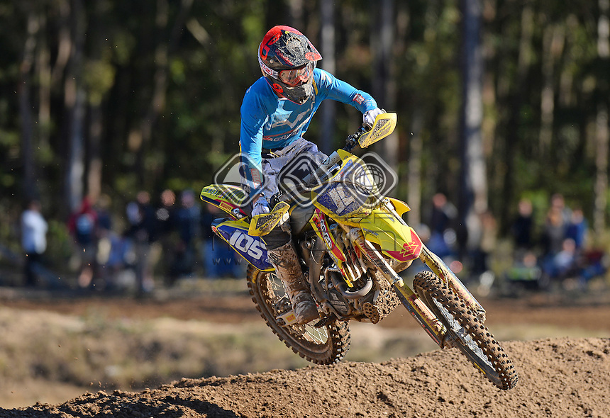 Jesse Madden / Suzuki<br /> MX Nationals / Round 6 / MXD<br /> Australian Motocross Championships<br /> Raymond Terrace NSW<br /> Sunday 5 July 2015<br /> &copy; Sport the library / Jeff Crow