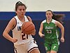 Maria Themelis #21 of Manhasset moves the ball downcourt during a non-league girls basketball game against Farmingdale at Manhasset High School on Saturday, Dec. 8, 2018. Manhasset won by a score of 50-33.