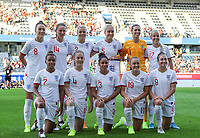 20190829 - LEUVEN , BELGIUM : England Women's National Team Photo (From top left: Lucy Bronze, Abbie McManus, Rachel Daly, Steph Houghton, Carly Telford, Beth Mead From bottom right: Jodie Taylor,   Georgia Stanway, Demi Stokes, Keira Walsh, Nikita Parris) taken before the female soccer game between the Belgian Red Flames and England , The Lionesses , a friendly womensoccer game in the preparation for the European Championship qualification round in group H for England 2021, Tuesday 29 th August 2019 at the King Power Stadion Den Dreef in Leuven , Belgium. PHOTO SPORTPIX.BE | SEVIL OKTEM