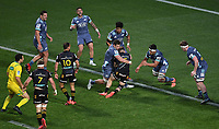 5th July 2020; Hamilton, New Zealand;  Scott Scrafton tackles Damian McKenzie and is offside and red carded.<br />