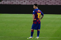 8th July 2020; Camp Nou, Barcelona, Catalonia, Spain; La Liga Football, Barcelona versus Espanyol; Leo Messi looks frustrated as an attack comes to no chance on goal
