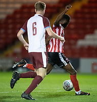 Lincoln City U18's Jordan Adebayo-Smith scores his side's second goal<br /> <br /> Photographer Chris Vaughan/CameraSport<br /> <br /> The FA Youth Cup Second Round - Lincoln City U18 v South Shields U18 - Tuesday 13th November 2018 - Sincil Bank - Lincoln<br />  <br /> World Copyright © 2018 CameraSport. All rights reserved. 43 Linden Ave. Countesthorpe. Leicester. England. LE8 5PG - Tel: +44 (0) 116 277 4147 - admin@camerasport.com - www.camerasport.com