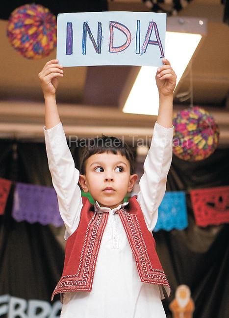 The Gazette. Berwyn Heights Elementary School kindergartener Taj Wilkinson, 5 of Berwyn Heights, shows off his Indian apparel during the fashion show part of  Berwyn Heights Elementary School's International Day on Thursday afternoon..