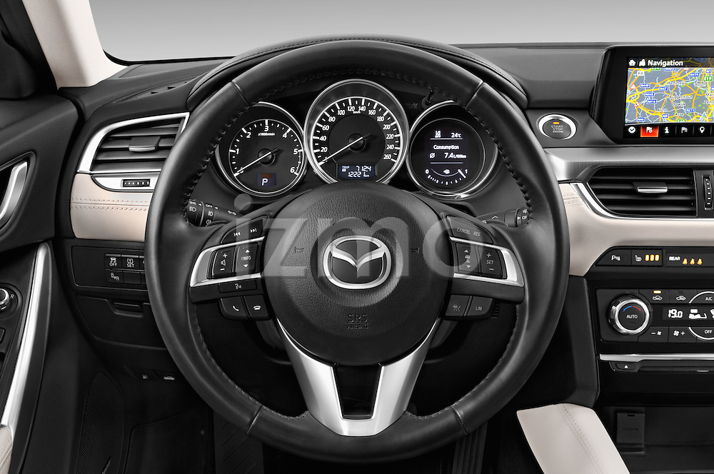 Car pictures of steering wheel view of a 2015 Mazda Mazda 6 Skycruse 5 Door Wagon Steering Wheel