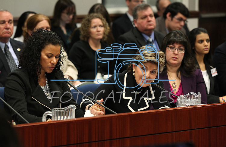 Lise-Lotte Lublin, attorney Gloria Allred and Assemblywoman Irene Bustamante Adams, D-Las Vegas, urge lawmakers to support a bill that would remove the criminal statue of limitations for sexual assault cases during a hearing at the Legislative Building in Carson City, Nev., on Friday, March 13, 2015. <br /> Photo by Cathleen Allison