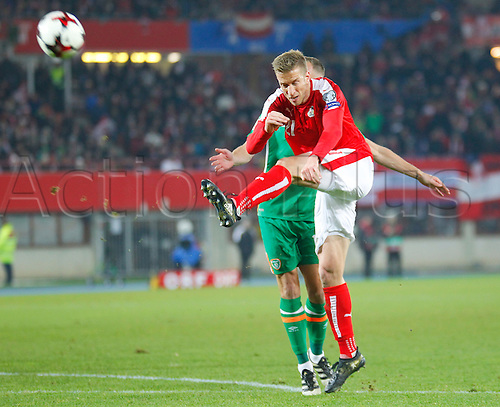 12.11.2016. Ernst Happel Stadion, Vienna, Austria. World Cup Qualifying Football. Austria versus Republic of Ireland. Marc Janko (Austria) fires the ball over the bar after a challenge by David Meyler (Rep. of Ireland).
