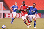 July 1 2007:  Maurice Edu (6) of the Toronto FC and Scott Sealy (19) of the Wizards battle for a loose ball.  The MLS Kansas City Wizards tied the visiting Toronto FC 1-1 at Arrowhead Stadium in Kansas City, Missouri, in a regular season league soccer match.