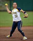 Michigan Wolverines shortstop Sierra Romero (32) during warmups before the season opener against the Florida Gators on February 8, 2014 at the USF Softball Stadium in Tampa, Florida.  Florida defeated Michigan 9-4 in extra innings.  (Copyright Mike Janes Photography)