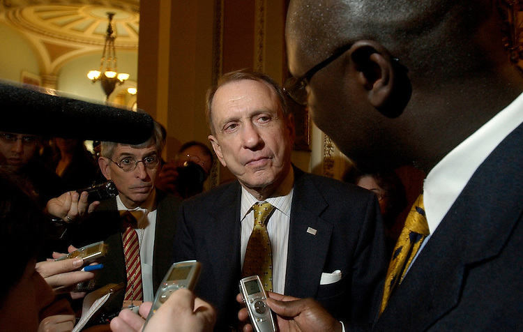 Sen. Arlen Specter, R-Pa., speaks with the press before entering the Senate chamber.