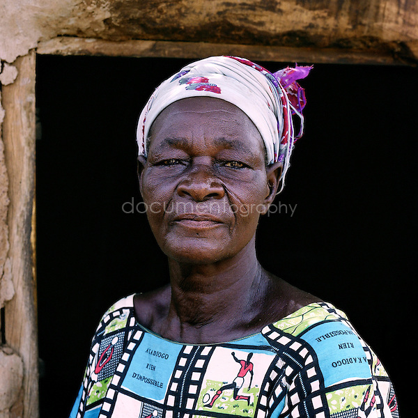 Woman accused of witchcraft in Africa.