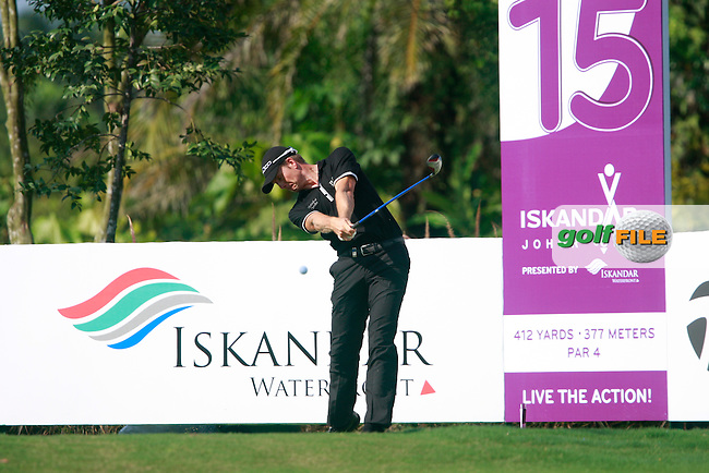 Henrik Stenson (SWE) tees off on the 15th tee during Saturday's storm delayed conclusion of Round 2 of the Iskandar Johor Open 2011 at the Horizon Hills Golf Resort Johor, Malaysia, 19th November 2011 (Photo Eoin Clarke/www.golffile.ie)