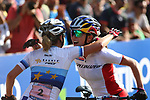 Sina Frei (SUI) and Kate Courtney (USA) congrat each other during the Women Under 23 UCI 2017 MOUNTAIN BIKE WORLD CUP  in Daloasa, Val Di Sole on August 27, 2017.