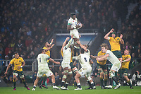 Twickenham, Surrey. UK. Englands, Maro ITOJE, collects the line out ball, during the <br /> England VS Australia, Autumn International. Old Mutual Wealth Series. RFU Stadium, Twickenham. UK<br /> <br /> Saturday  18.11.17<br /> <br /> [Mandatory Credit Peter SPURRIER/Intersport Images]