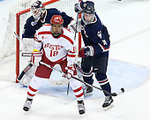Rob Nichols (UConn - 31), Jordan Greenway (BU - 18), Miles Gendron (UConn - 10) - The Boston University Terriers defeated the visiting University of Connecticut Huskies 4-2 (EN) on Saturday, October 24, 2015, at Agganis Arena in Boston, Massachusetts.