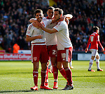 The three goalscorer Ryan Flynn, Che Adams and Billy Sharp of Sheffield Utd during the Sky Bet League One match at Bramall Lane Stadium. Photo credit should read: Simon Bellis/Sportimage
