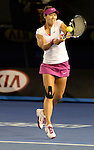 Na Li (CHN) wins the women's title at the Australian Open in Melbourne Australia by beating Dominka Cibulkova (SVK) 7-6, 6-0 on January 25, 2015.