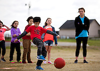 NWA Democrat-Gazette/JASON IVESTER<br /> Eshaan (cq) Garg (cq), 8, of Bentonville takes a swing during a game of kickball on Wednesday, March 23, 2016, during Camp Bentonville Spring Break at the Bentonville Community Center. Children are participating in activites throughout the week at the center.