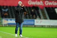 Gerhard Struber Manager of Barnsley shouts instructions to his team from the dug-out during the Sky Bet Championship match between Swansea City and Barnsley at the Liberty Stadium in Swansea, Wales, UK. Sunday 29 December 2019