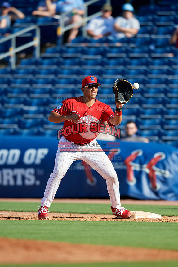 Philadelphia Phillies first baseman Darick Hall (85) waits to receive a throw during a Grapefruit League Spring Training game against the Baltimore Orioles on February 28, 2019 at Spectrum Field in Clearwater, Florida.  Orioles tied the Phillies 5-5.  (Mike Janes/Four Seam Images)