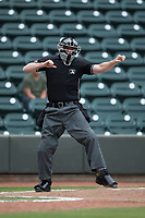 Home plate umpire Thomas Roche calls a batter out on strikes during the Carolina League game between the Carolina Mudcats and the Winston-Salem Dash at BB&T Ballpark on May 21, 2017 in Winston-Salem, North Carolina.  The Mudcats defeated the Dash 3-0 in 10 innings.  (Brian Westerholt/Four Seam Images)