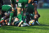 Alex Lewington of London Irish presents the ball after being tackled to ground. Aviva Premiership match, between Saracens and London Irish on January 3, 2015 at Allianz Park in London, England. Photo by: Patrick Khachfe / JMP