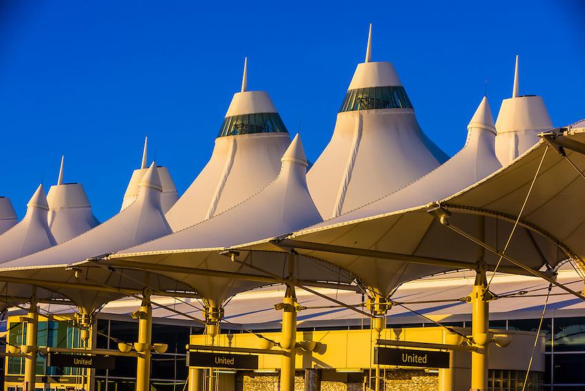 The tent like roof of the Jeppesen Terminal, Denver International Airport, Denver, Colorado USA.