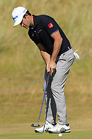 Ricardo Gouveia (POR) putts on the 2nd green during Friday's Round 2 of the 2018 Dubai Duty Free Irish Open, held at Ballyliffin Golf Club, Ireland. 6th July 2018.<br /> Picture: Eoin Clarke | Golffile<br /> <br /> <br /> All photos usage must carry mandatory copyright credit (&copy; Golffile | Eoin Clarke)