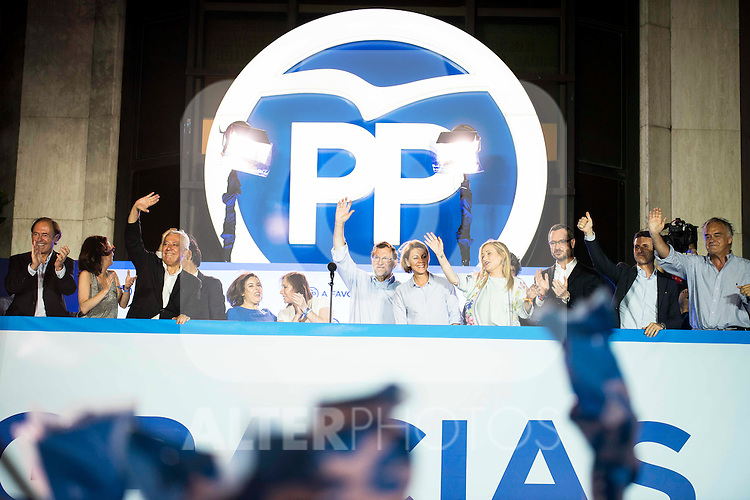 The left to the right, Jorge Fernandez Diaz, xxx, Andrea Levy, Javier Arenas, Fernando Martinez Maillo, Soraya Saenz de Santamaria, Elvira Fernandez Balboa, Mariano Rajoy, Maria Dolores de Cospedal, Cristina Cifuentes, Javier Maroto and Pablo Casado during the celebration of the victory of the Spanish Elections at the headquarter of Partido Popular in Madrid. June 26, 2016. (ALTERPHOTOS/BorjaB.Hojas)