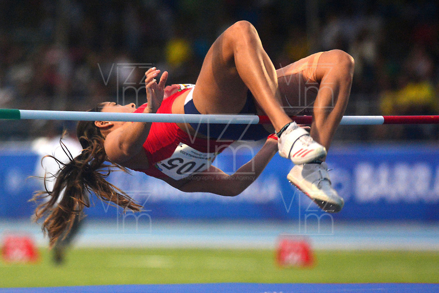 BARRANQUILLA - COLOMBIA, 31-07-2018:Ana Porras (COSRIC) en salto alto .Juegos Centroamericanos y del Caribe Barranquilla 2018. / Ana Porras (COSRIC) in high jump during the Central American and Caribbean Sports Games Barranquilla 2018. Photo: VizzorImage /  Alfonso Cervantes /Contribuidor