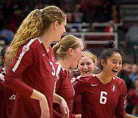Stanford, CA - October 18, 2019: Selina Xu, Jenna Gray, Holly Campbell, Kate Formico at Maples Pavilion. The No. 2 Stanford Cardinal swept the Colorado Buffaloes 3-0.